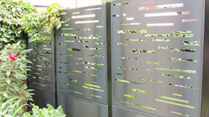 urbain fence, architectural, modern design fence, privacy, modular fence, decorative panel, steel, industrial, domestique